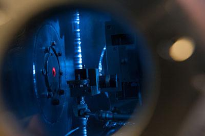 Photograph looking inside the laser-plasma accelerator