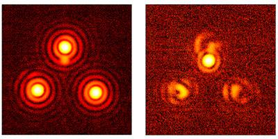 Images of light from three simulated stars before and after vortex coronagraphy