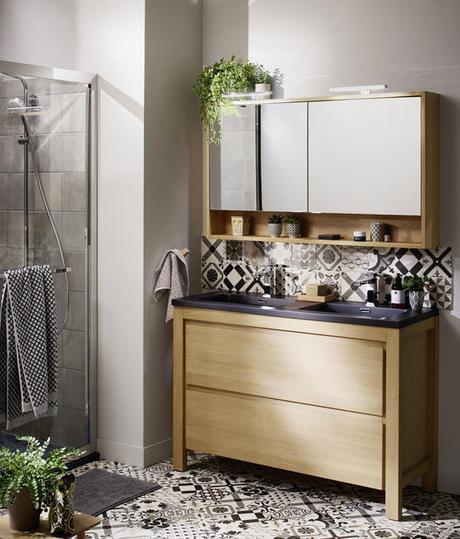 Bois & carreau de ciment : du charme dans la salle de bain ...