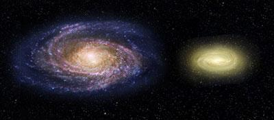 Artist's impression comparing the Milky Way (left) and MACS 2129-1 (right)