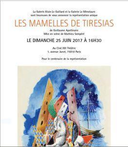Dimanche 25 Juin 2017 à 16h30  « Les Mamelles de Tirésias » au Théâtre Ciné XIII