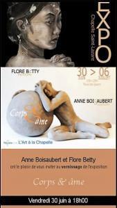 Chapelle de Noyers sur cher – à partir du 3O Juin 2017  Betty Flore (peintre) et Anne BOISAUBERT(sculptrice)