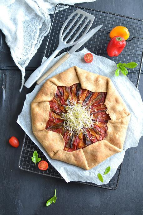 Tarte rustique aux poivrons et graines germées