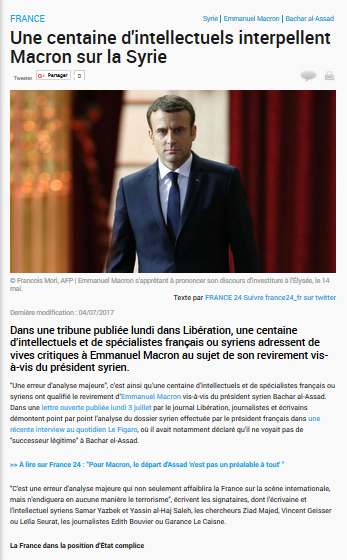 #Syrie : #Macron  coupable de compromission  envers des crimes contre l'humanité