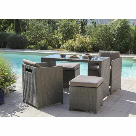 Salon jardin resine tressee table jardin teck | À Voir