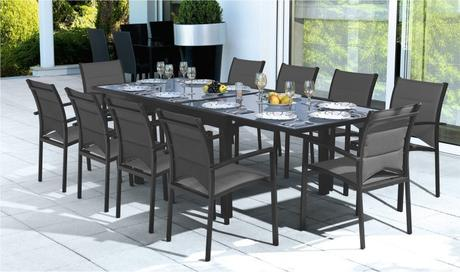 table salon de jardin aluminium solde table jardin paperblog. Black Bedroom Furniture Sets. Home Design Ideas