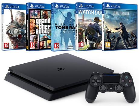 Pack PS4 + Final Fantasy XV + Watch Dogs 2 + Rise of the Tomb Raider + GTA V + The Witcher 3 à 349 €