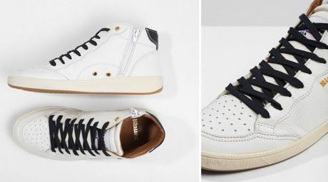 Blauer, sneakers montantes blanches en cuir