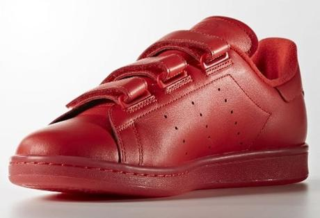 adidas Originals STAN SMITH en cuir rouge