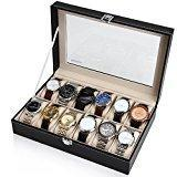 Readaeer Boîte à Montres pour 12 montres Présentoir/Coffret/Boîte de stockage, noir