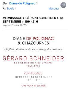 Galerie Diane de Polignac & Chazournes  – exposition Gérard SCHNEIDER  » de l'Abstraction au Lyrisme 1945-1955″