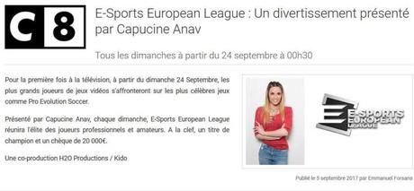 esport capucine anav c8 hanouna esport european league