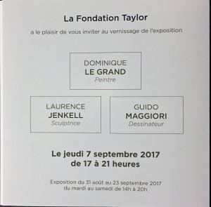 Fondation TAYLOR  septembre 2017 Dominique LE GRAND  Laurence JENKELL Guido MAGGIORI et « Coincidences » Echanges Franco-Canadiens