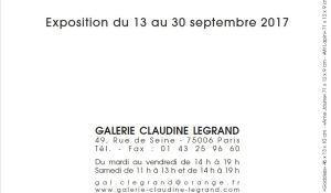 Galerie Claudine LEGRAND  exposition Lawrence Mc LAUGHLIN  du 13 au 30 Septembre 2017