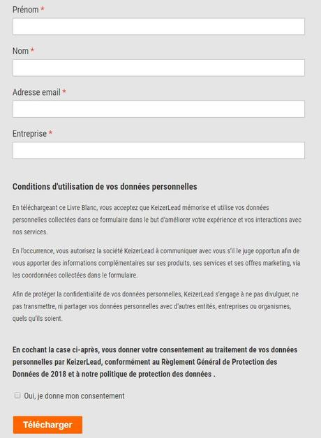 formulaire GDPR