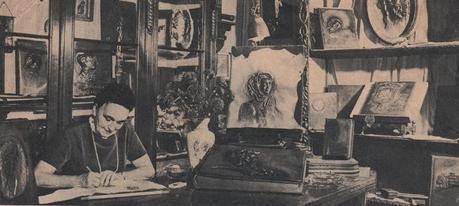 Ci-dessus : 1ère image : une oeuvre de Modeste Huys; 2ième image: M.Smetryns avec son mari ; 3ième et 4ième : l'atelier rue d'Arenberg, Bruxelles, 5ième image: Michel-Ange et Ludwig V. Beethoven sur cuir; 6 ième image: armoiries britanniques sur ce livre d'or offert à Elisabeth 2 pour son couronnement en 1952. 7ième image: article ( Livre d'or pour Elis.II ) tiré d'un journal inconnu mais de l'époque du couronnement (courtesy: Joop Boelens, Vught, Pays-Bas)