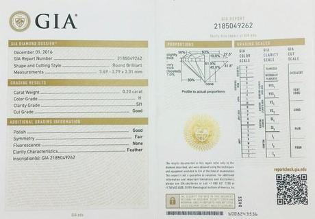 certificat GIA du diamant solitaire de la bague en or blanc