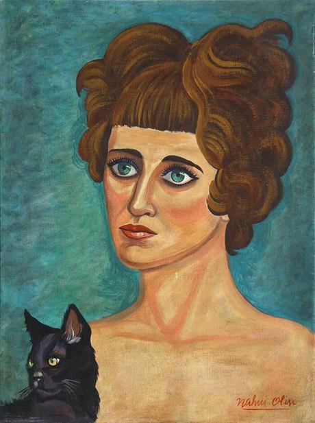 Nahui Olin - Portrait d'une femme avec un chat, sd