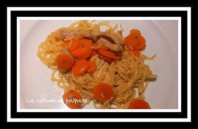 Escalope de porc mariné, Korean Ramen, nouille chinoise et sauté de carottes au thermomix ou sans