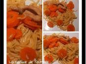 Escalope porc mariné, Korean Ramen, nouille chinoise sauté carottes thermomix sans