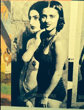 Amrita posant devant son autoportrait en Tahitienne