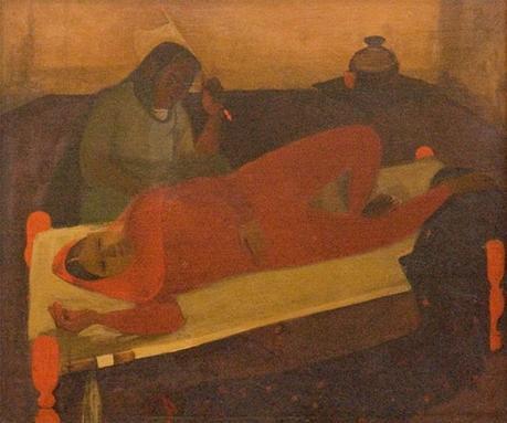 Femme allongée sur un lit Charpay, 1940