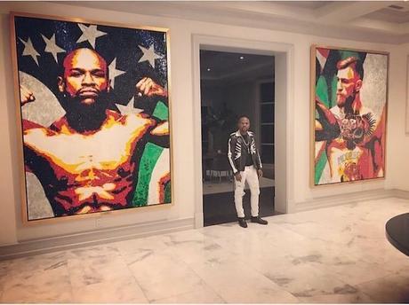 Mayweather affiche un énorme tableau de McGregor chez lui
