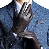 Harrms Hommes Gants Cuir Cachemire gants d'affaires décontractée Automne et l'hiver Touch gants d'écran Gants de ski antigel protection des mains Noir & brun