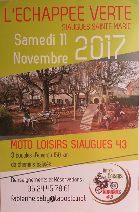 Rando moto L'échappée Verte du Moto Loisirs Siaugues (43), le 11 novembre 2017