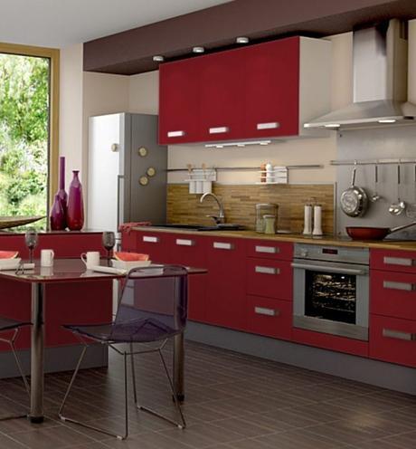 cuisine blanche et rouge mat ouverte with cuisine blanche et rouge. Black Bedroom Furniture Sets. Home Design Ideas