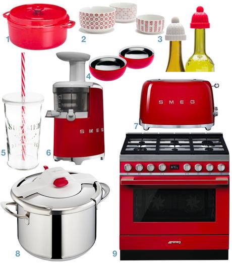 shopping d co pour une cuisine blanche et rouge. Black Bedroom Furniture Sets. Home Design Ideas