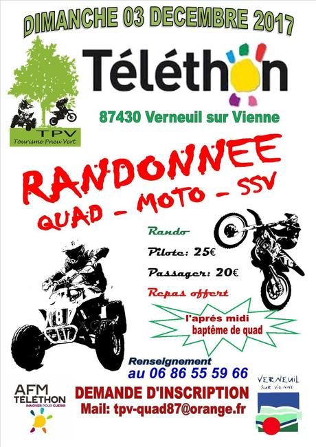 Rando moto, quad et SSV Téléthon du TPV à Verneuil sur Vienne (87), le 3 décembr e2017