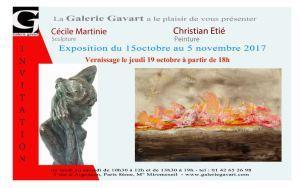 Galerie GAVART  exposition Cécile MARTINIE  et Christian ETIE  15 Octobre au 5 Novembre 2017