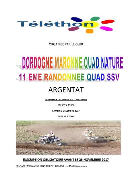 Rando Téléthon quad - SSV de Dordogne Maronne Quad Nature à Argentat (19), le 8 et 9 décembre 2017