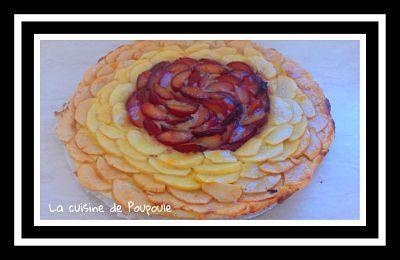 Tarte pommes prunes et amandes