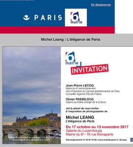 Mairie PARIS 6   exposition Michel LEANG  » L'élégance de Paris » 17 Octobre au 13 Novembre 2017