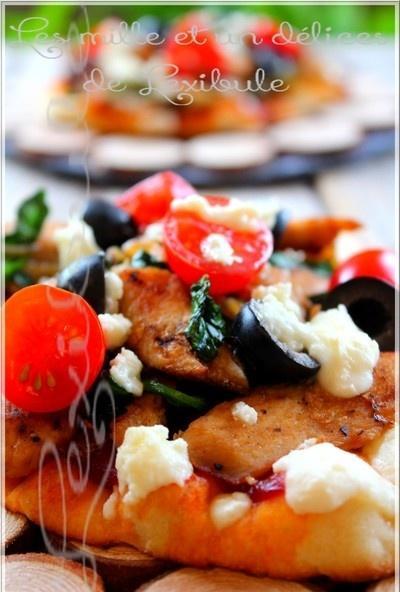 ~Pizza poulet, féta et épinard~