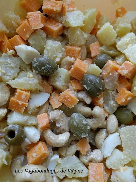Salade pommes de terre, mimolette, noix de cajou....