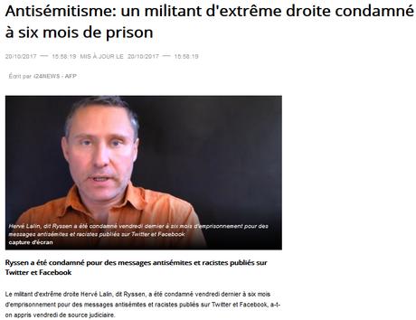 #antisemitisme : #Ryssen condamné à 6 mois de prison #antifa