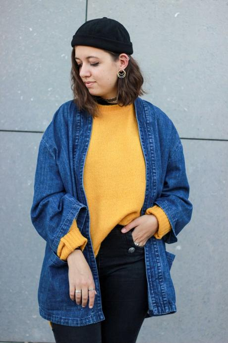 Kimono en jean pull jaune moutarde loose