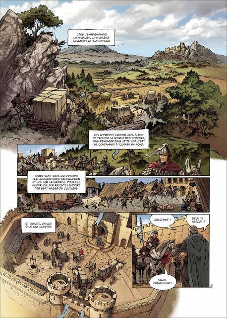 Page de Sept Mages de Lehman et Roudier chez Delcourt
