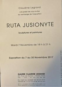 Galerie Claudine LEGRAND   exposition RUTA JUSIONYTE  7/30 Novembre 2017