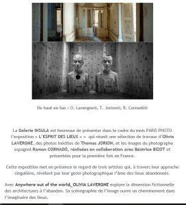 Galerie INSULA   « L'Esprit des lieux »  7 Novembre au 2 Décembre 2017