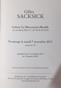 Galerie La Maison-près-Bastille  Exposition Gilles SACKSIK 7 Novembre au 14 Janvier 2018