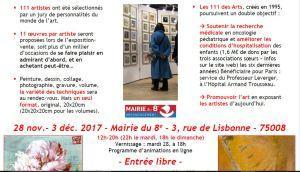 exposition-vente   LES 111 des Arts     28 Novembre au 3 Décembre 2017 Mairie Paris 8
