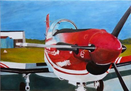 l'Avion rouge (Pilatus) - Peinture de Serge Boisse (2017)