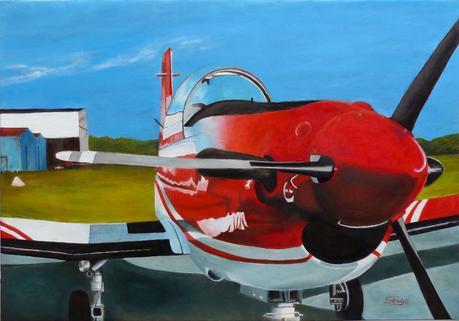 l'Avion rouge (Pilatus) - Peinture de Serge Boisse