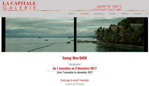Galerie La Capitale    exposition à partir du 7 Novembre  jusqu'au 2 Décembre 2017- Seung-Woo BAEK