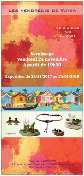 Exposition commune chez Vania Laporte : Eric Duluc, Kio et Eliz'art