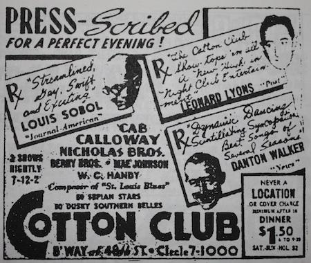 November 7, 1938: huge success for Cab Calloway & the Nicholas Brothers at the Cotton Club